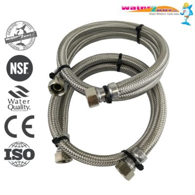 "Stainless Steel Braided Hoses 1/2"" (15mm) For Water Softeners & Water Filtration"