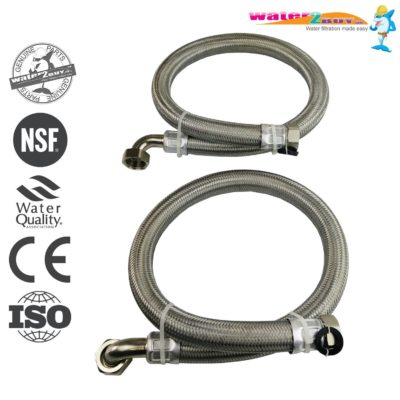 "Stainless Steel Braided Hoses 1"" (28mm) For Water Softeners & Water Filtration"