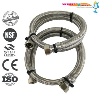 "Stainless Steel Braided Hoses 3/4"" (22mm) For Water Softeners & Water Filtration"